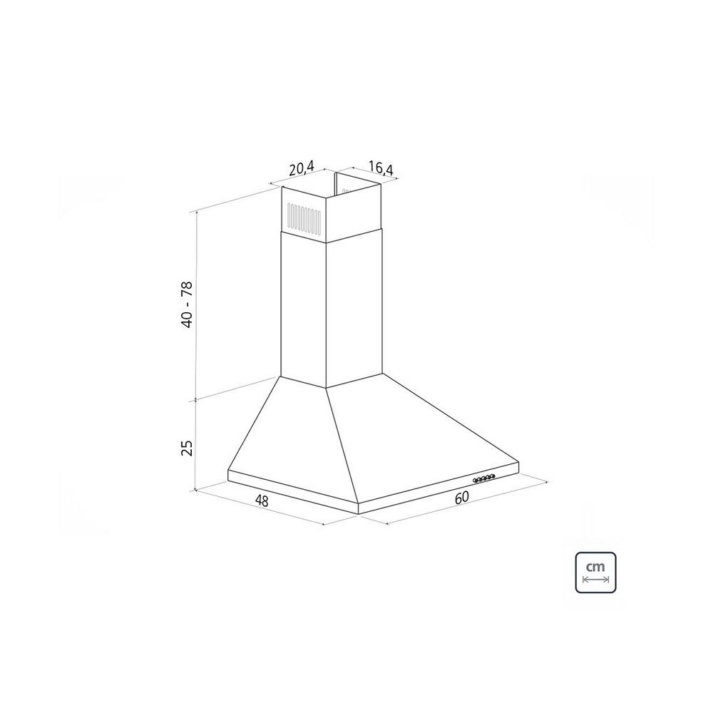 Coifa de Parede em Aço Inox Tramontina Pirâmide 60cm 180 Watts 127 Volts - 94813/001 - 94813/001