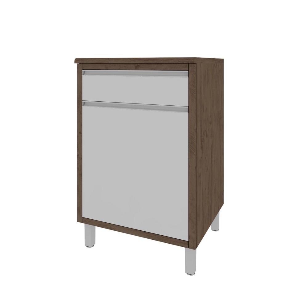 Balcão de Cozinha Stella 0,60m 1 Porta e Gaveta com Tampo Indékes Noce Off - 6134.8