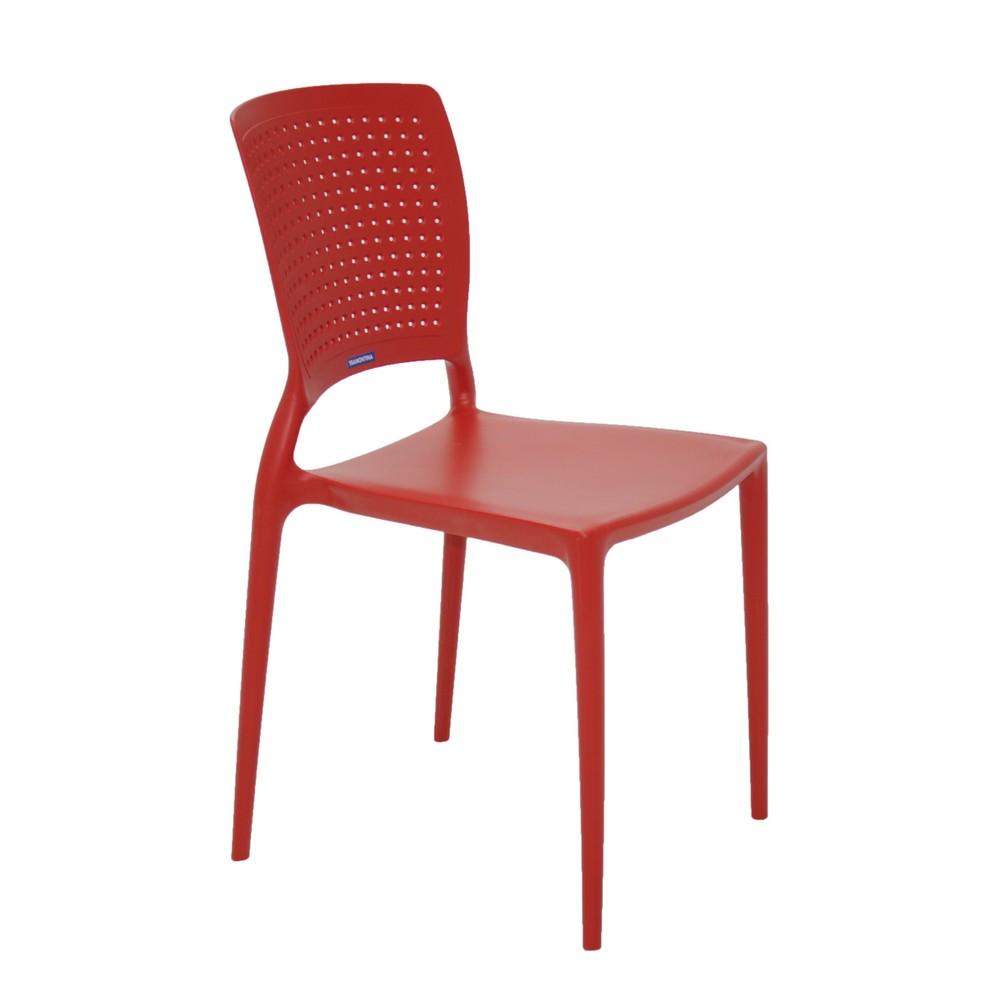 Cadeira Fixa de Plástico Monobloco Safira Vermelho - Tramontina - 92048/040