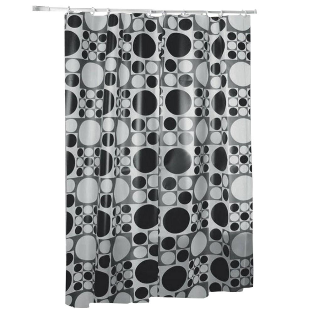 Cortina para Box Banheiro 1,80 x 1,80m Bolas Preto/Branco Primafer - PR2701-3 - PR2701-3
