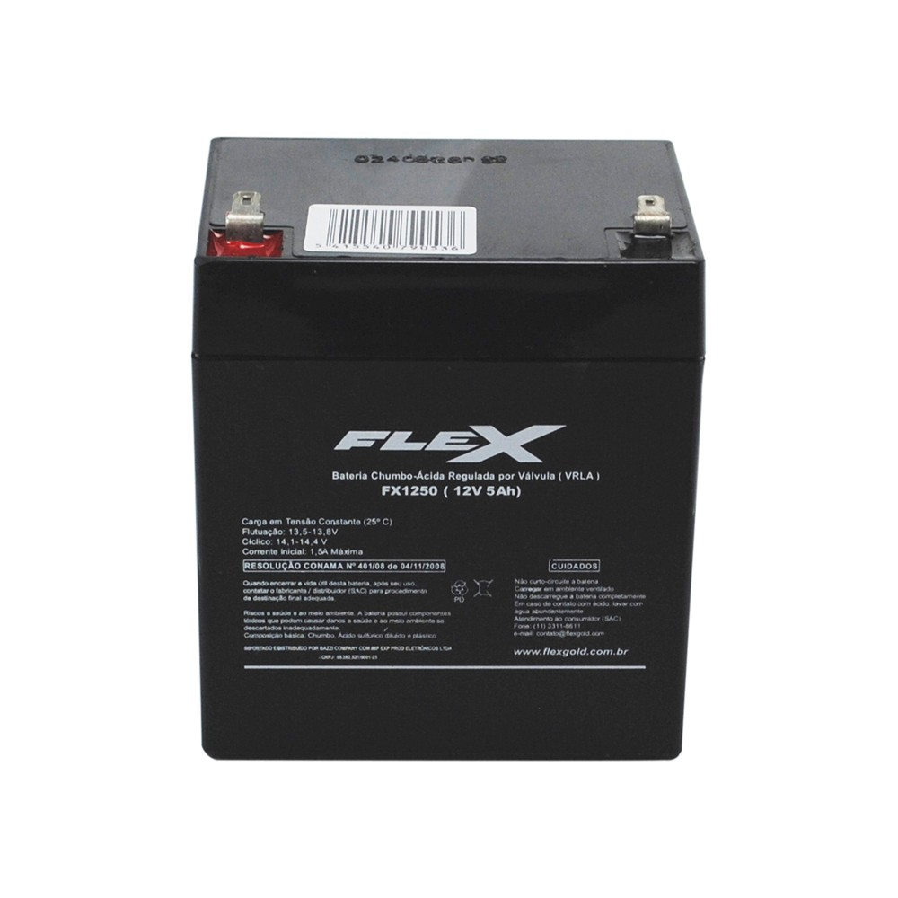 Bateria Selada para Alarmes e No-Breaks 5,0 Ah 12 Volts Flex - FX-1250 - FX-1250