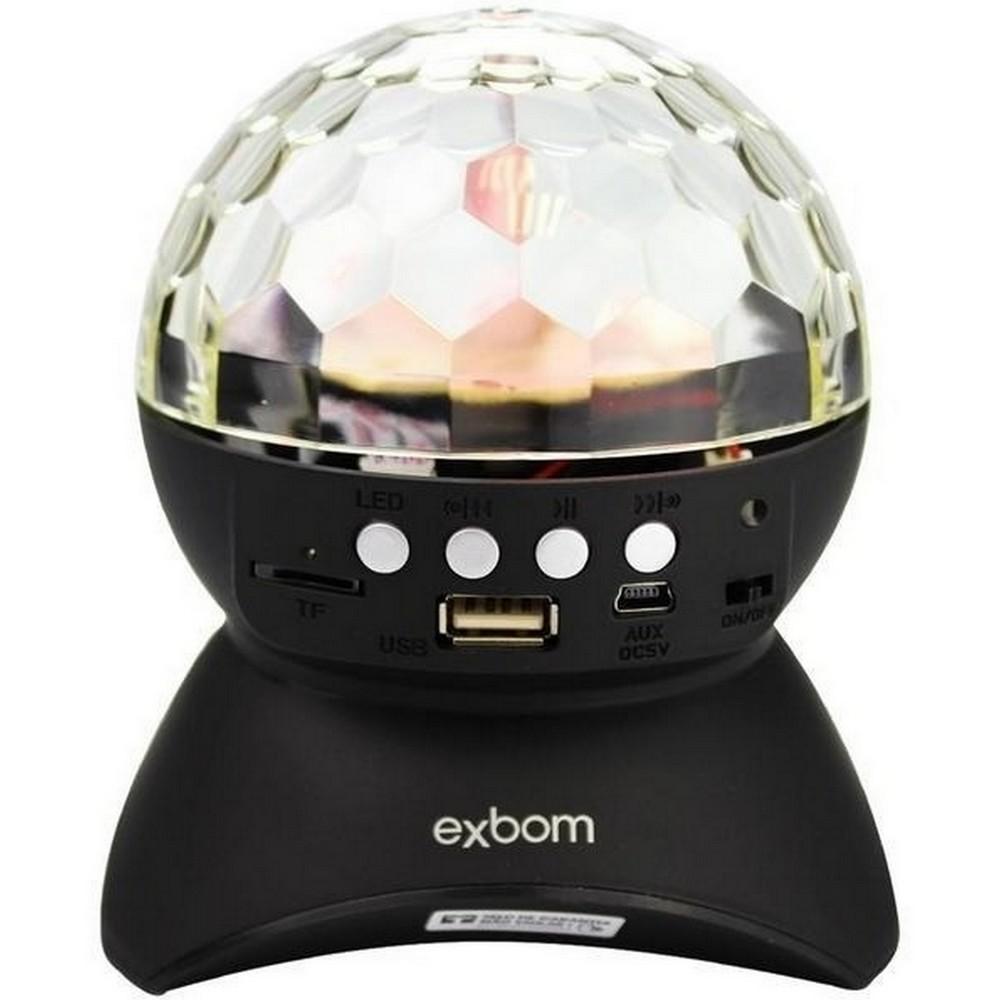 Caixa de Som Portátil Globo com Led Colorido Bluetooth, Rádio, USB e Cartão de Memória CS-A24BT Exbom - 02387