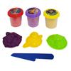 Areia de Modelar com 4 Acessorios 3 Cores Sortidas Toy Store - 70 Gramas Cada - Etitoys - DY-979 - DY-979