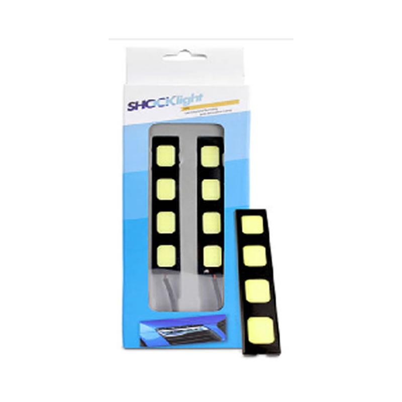 Lâmpada Led Automotiva Auxiliar DRL 12 cm 12 Volts 4 Leds SMD 6000K Branco 6000K Vendido no Par - Shocklight LED3456-4