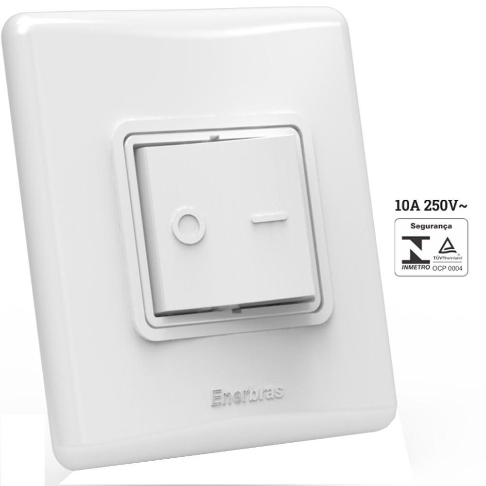 Interruptor Simples 10A Enerbras 338-ES 1 Bipolar com Espelho Unidade 2x2
