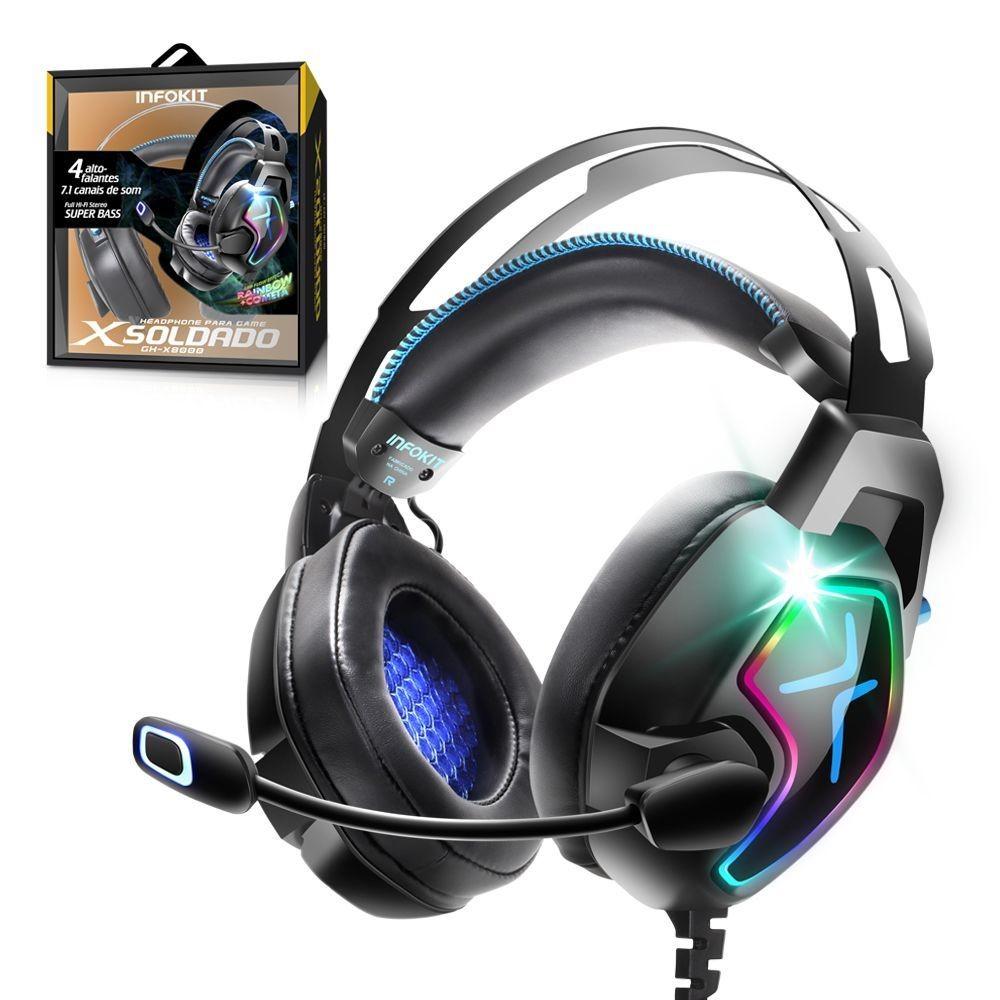 Fone de Ouvido Gamer com 4 Alto Falantes Microfone Articulado GH-X8000 Exbom - 03233