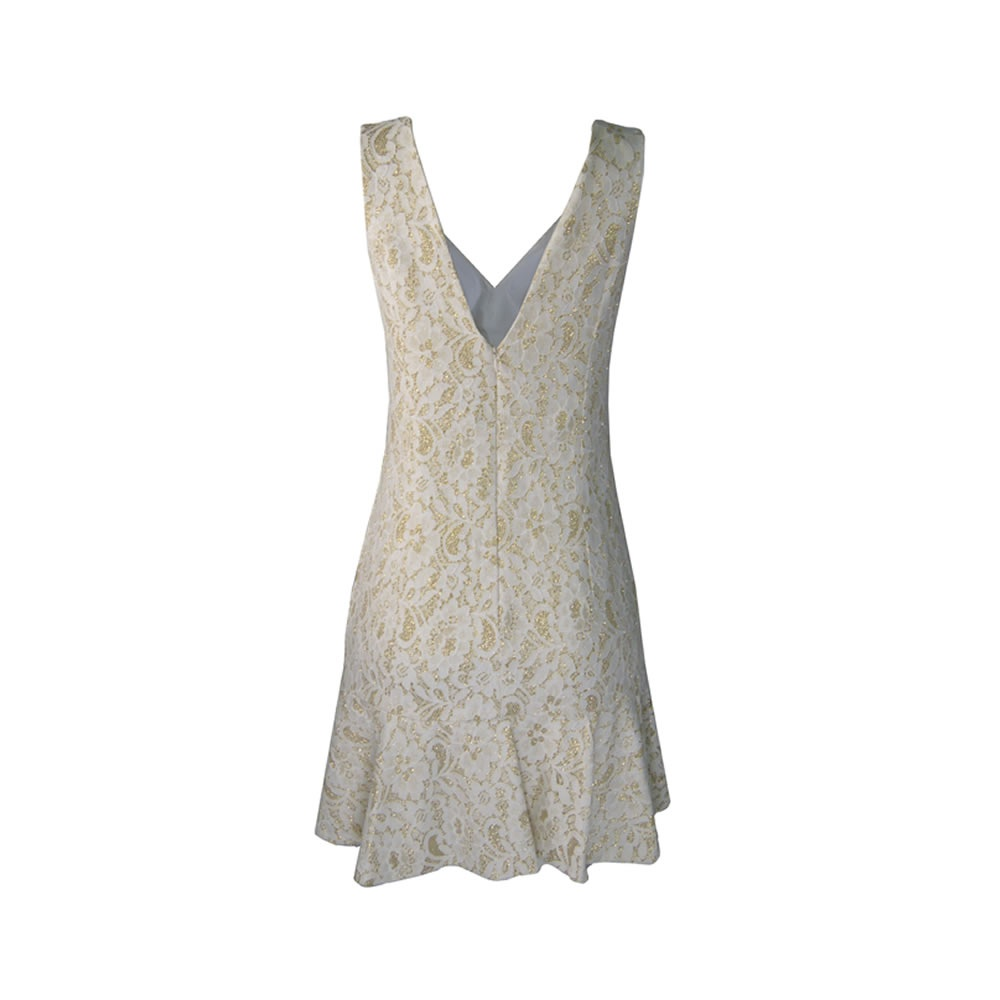 Vestido Renda Glitter Off White Lore