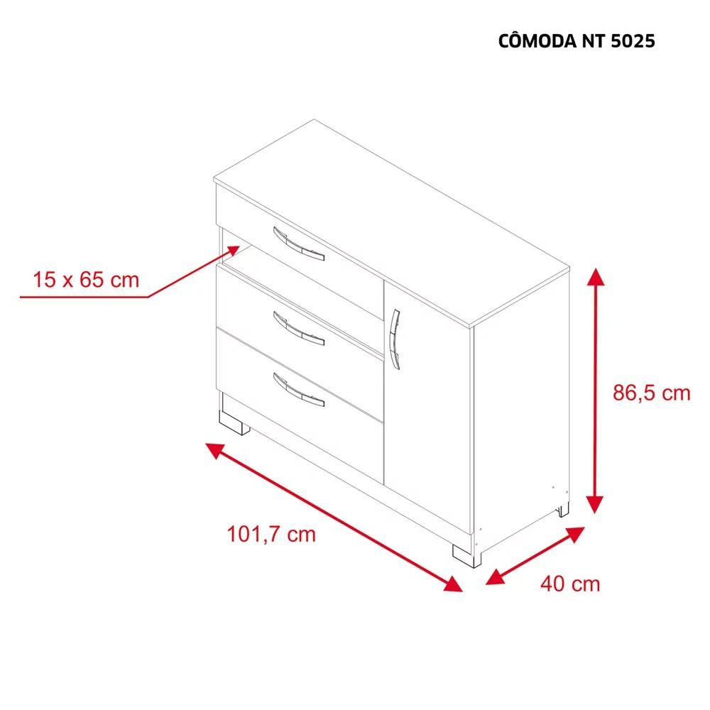 Cômoda 3 Gavetas 1 Porta Branco - Notável - NT5025