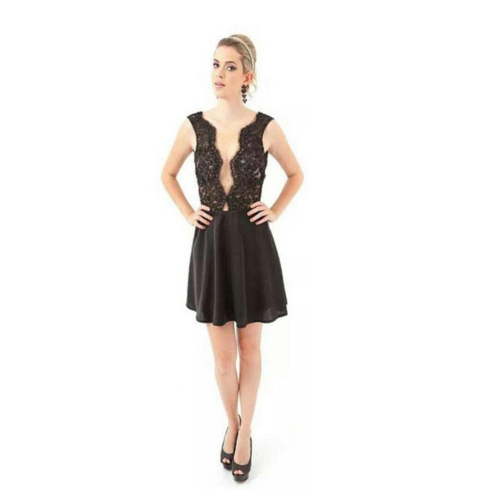 Vestido Pedraria com Saia Rodada Amicci - 0042 - TAMANHO M