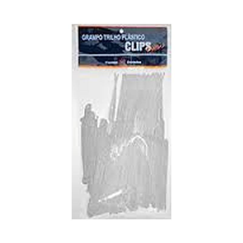Grampos Trilho Plástico Branco Clipsnews Pacote com 50 unidades - 00049