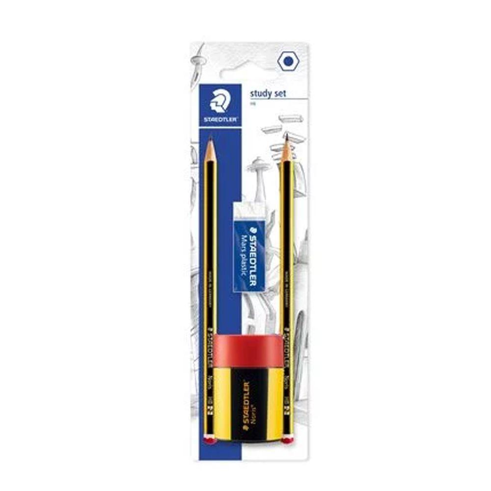 Lápis Preto HB Staedtler com Borracha + Apontador + 2 Lápis - 120 511BKD10