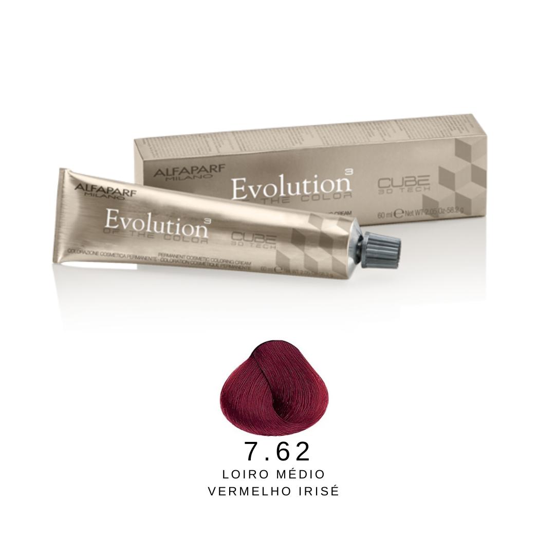 7.62 - Loiro Médio Vermelho Irisé - Alfaparf Evolution