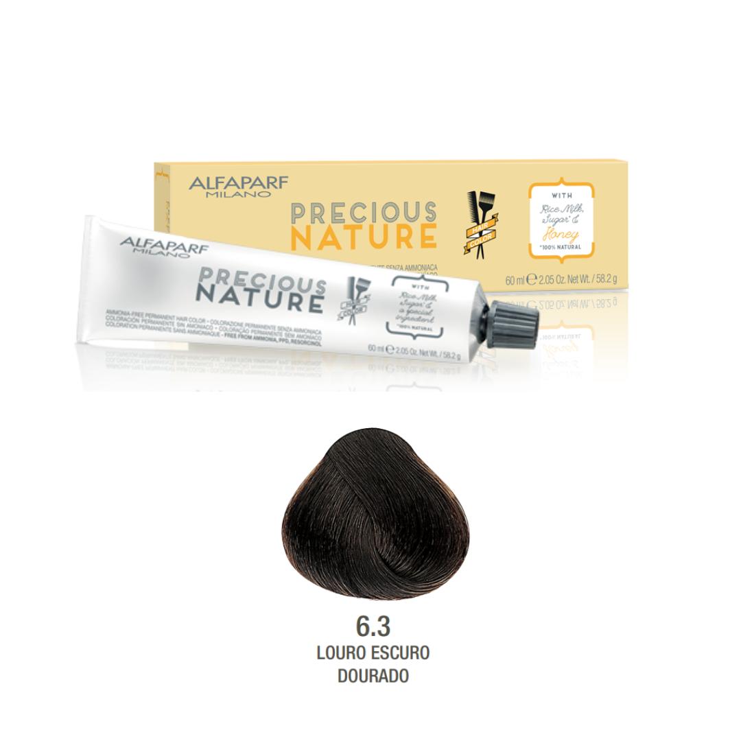 6.3 - Louro Escuro Dourado - Coloração Alfaparf Precious Nature Hair Color Loiros 100% natural
