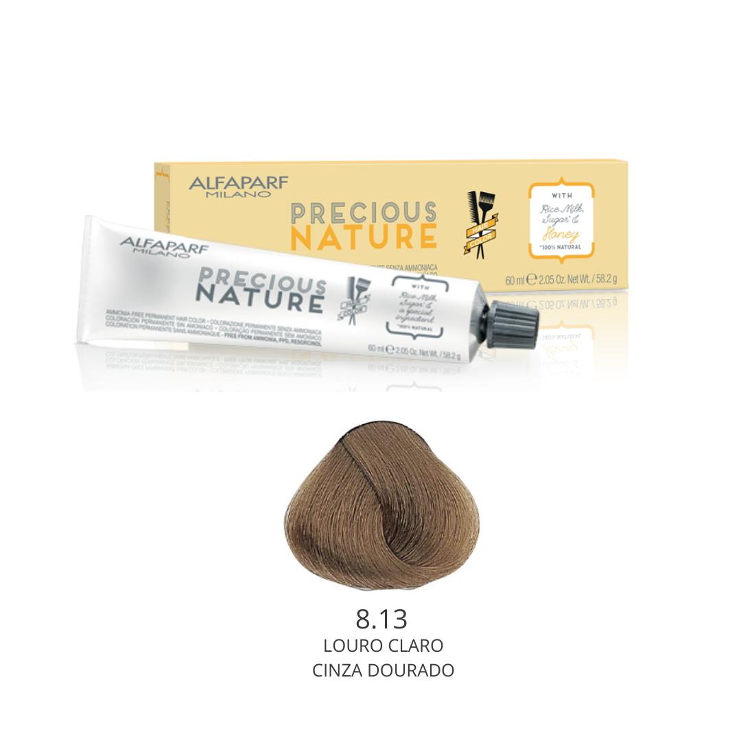 8.13 - Louro Claro Cinza Dourado - Coloração Alfaparf Precious Nature Hair Color Loiros 100% natural