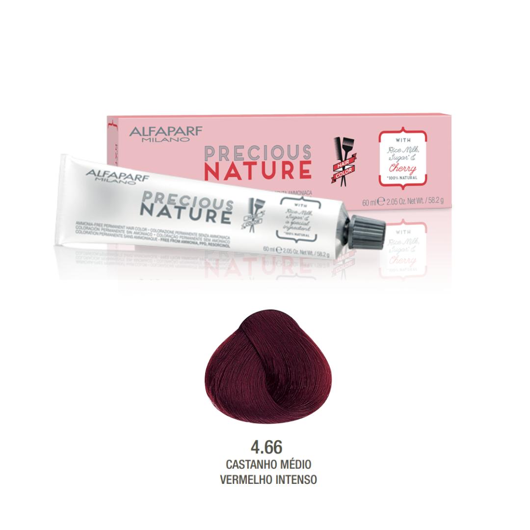 4.66 - Castanho Médio Vermelho Intenso - Coloração Alfaparf Precious Nature Hair Color Vermelhos 100% natural