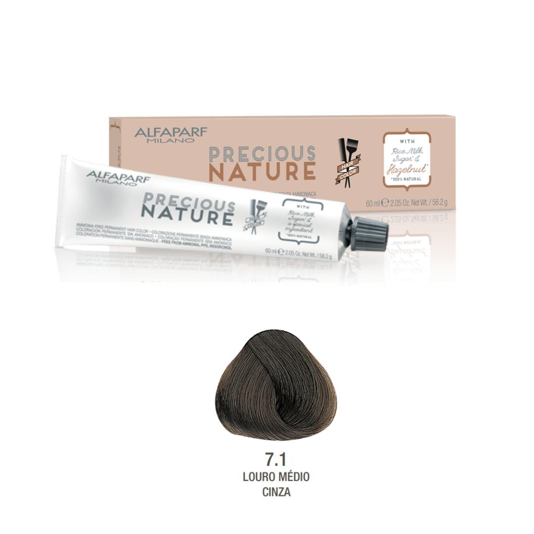 7.1 - Louro Médio Cinza - Coloração Alfaparf Precious Nature Hair Color Castanhos frios 100% natural