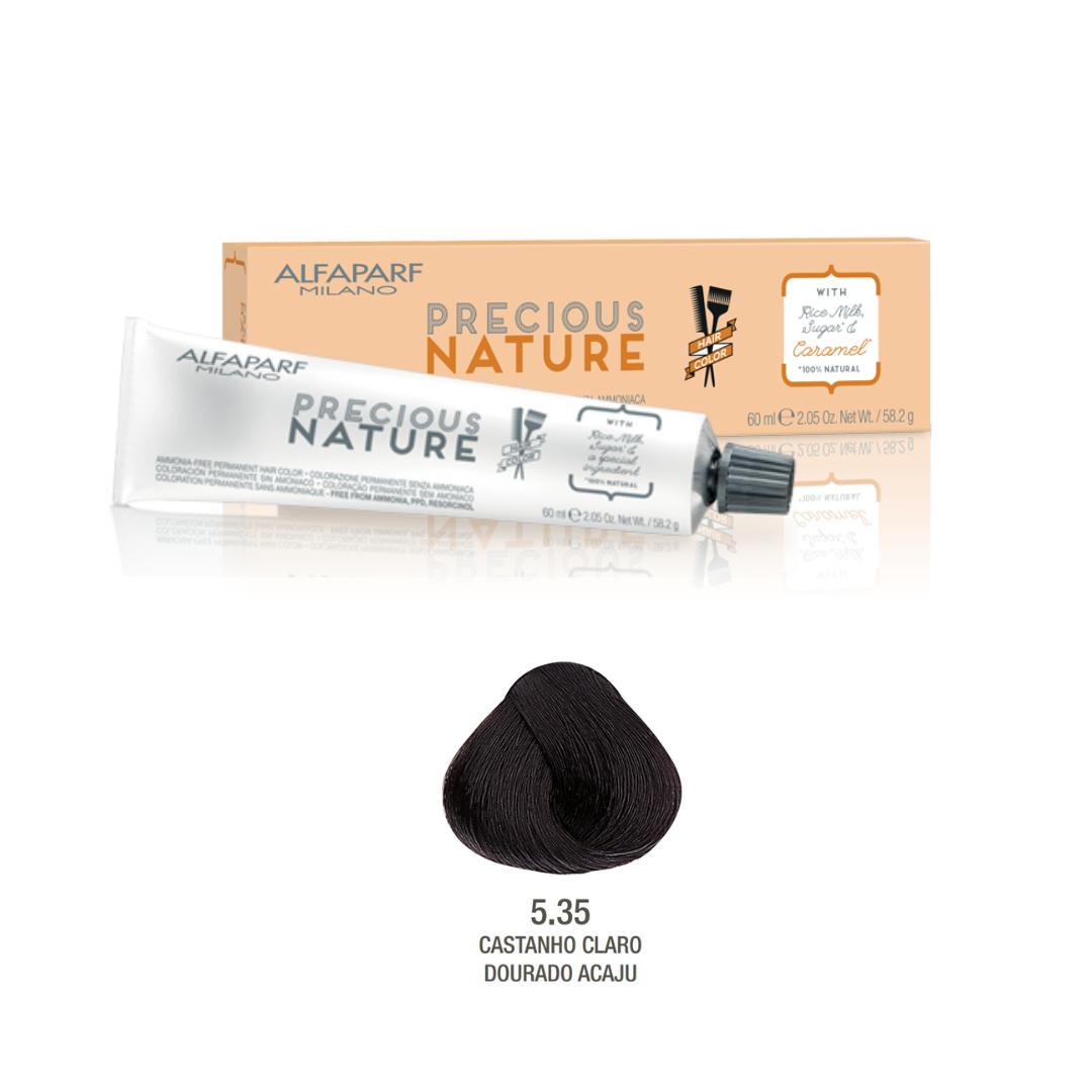 5.35 - Castanho Claro Dourado Acaju - Coloração Alfaparf Precious Nature Hair Color Castanhos Quentes 100% natural
