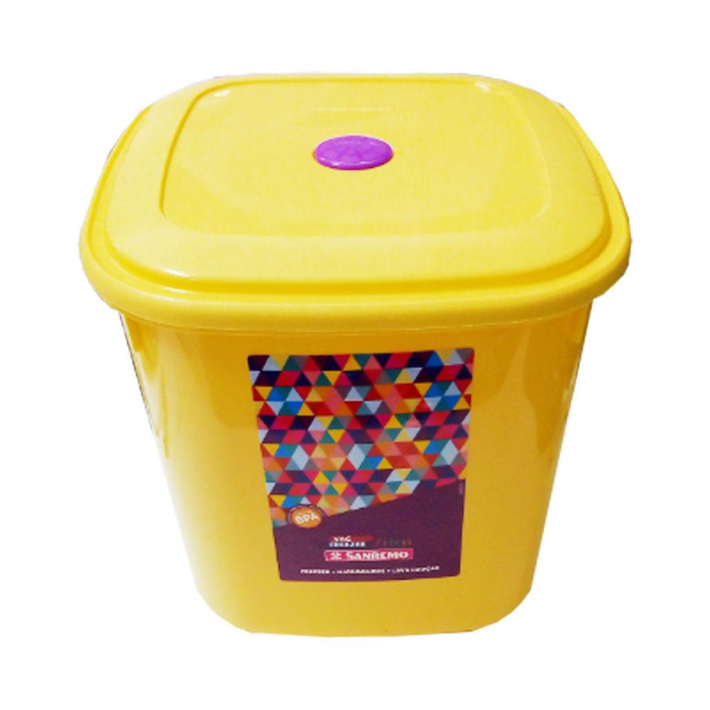 Pote Plástico Quadrado 5,0 Litros Amarelo Sanremo - SR485/6 Produto com Avaria